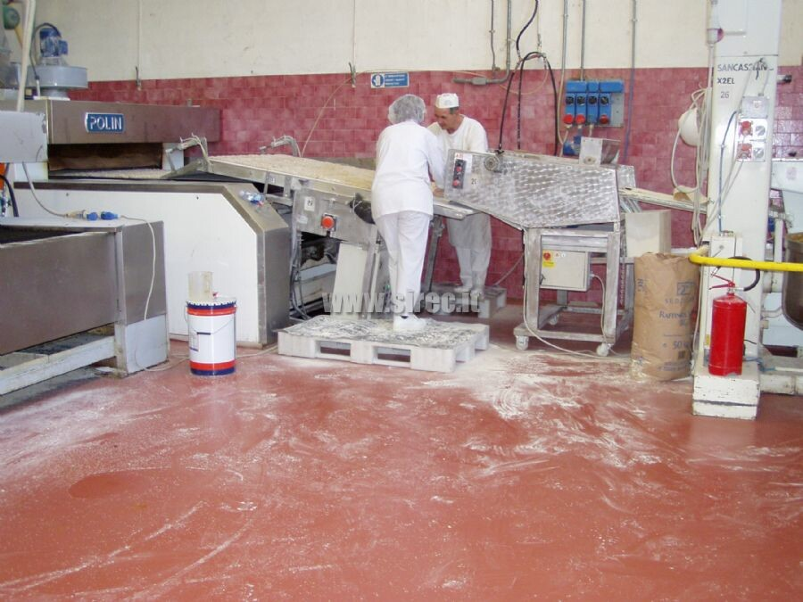 Industrial epoxy resin floor - biscuits production