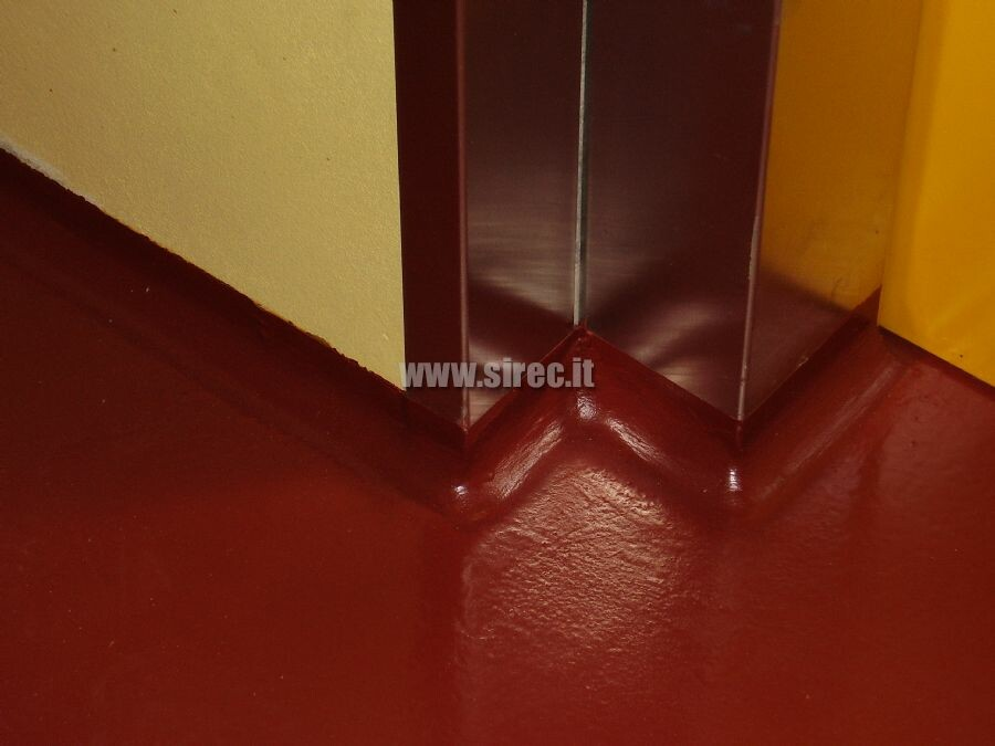 Elastic epoxy resin base board between the floor and wall